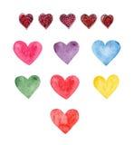 Clipart do vetor do coração da aquarela Fotografia de Stock Royalty Free