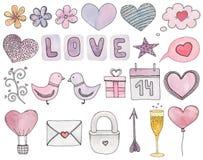Clipart do vetor do dia de Valentim Símbolo do casamento da aquarela Imagem de Stock