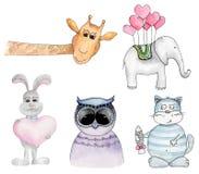 Clipart do vetor dos desenhos animados dos animais da aquarela Foto de Stock Royalty Free