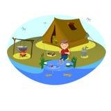 Clipart do vetor para o turismo e a pesca O menino está pescando no lago Barraca ou acampamento no esclarecimento e na fogueira Imagem de Stock Royalty Free