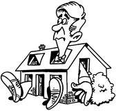 Clipart domestico di vettore del fumetto del bene immobile di riparazione Immagini Stock Libere da Diritti