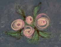 Clipart with drawing with roses Royalty Free Stock Image