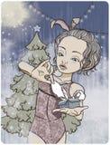 Clipart dziewczyna w kostiumu królik Ilustracja Wektor