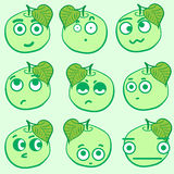 Clipart emotional apples Stock Images