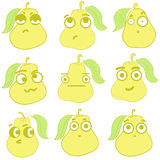 Clipart emotional pears. Clipart with emotional big-eyed yellow pears with leaves Stock Image