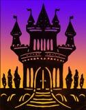 Clipart fabriqué à la main de château sur le fond de couleur Images libres de droits