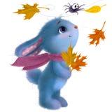 Clipart felice dell'illustrazione del coniglio festival di Metà di-autunno Coniglietto simile a pelliccia divertente con le fogli illustrazione vettoriale