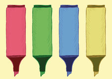 Clipart of felt-tip pens highlighters Royalty Free Stock Image