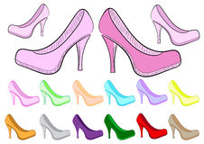 Clipart female of a shoe. Clipart with multi-colored sketches female a shoe Stock Photography