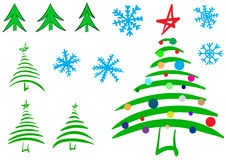 Clipart of a fir-tree and snowflake. Clipart with various sketches of fir-trees and Christmas trees and snowflakes Royalty Free Stock Photography