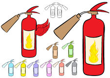 Clipart fire extinguishers Royalty Free Stock Photos