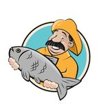 Fisherman with big fish sign. Clipart of a fisherman with big fish Stock Photography