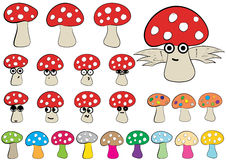 Clipart of fly agarics Royalty Free Stock Photo