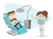Funny cartoon man at the dentist. Clipart of funny cartoon man at the dentist royalty free illustration
