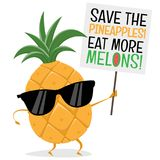Funny pineapple demonstrator wants people to eat more melons Royalty Free Stock Photography