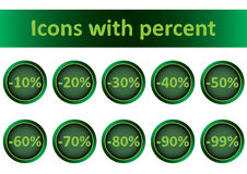 Clipart green icons with percent. Clipart with icons with percent of discounts Stock Photography
