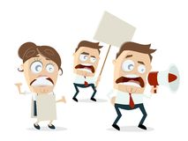 Angry demonstrators clipart Royalty Free Stock Photo