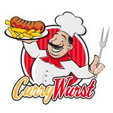 Happy chef serving german currywurst. Clipart of a happy chef serving german currywurst vector illustration