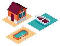 Clipart-Hausbootspool lizenzfreie abbildung