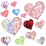 Clipart hearts in different shapes and colorings Stock Image