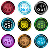 Clipart icons word go and arrow Stock Photo