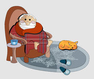 Clipart illustration of of an old man in a chair Royalty Free Stock Image