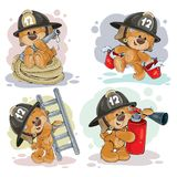 Teddy bear firefighter with rescue equipment. Clipart illustration of a teddy bear firefighter with rescue equipment, hose, fire extinguisher, with a bucket and Stock Photos