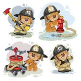Teddy bear firefighter with rescue equipment. Clipart illustration of a teddy bear firefighter with rescue equipment, hose, hydrant and in uniform isolated on Royalty Free Stock Images