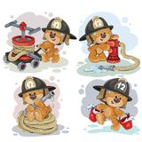 Teddy bear firefighter with rescue equipment. Clipart illustration of a teddy bear fireman with rescue equipment, hose, hydrant, with a bucket isolated on white Royalty Free Stock Images