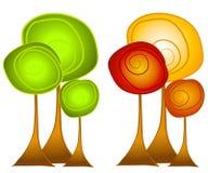 Clipart (images graphiques) d'arbres d'automne et d'été illustration stock