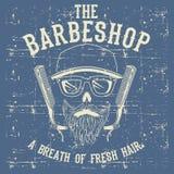 Clipart (images graphiques) d'illustration de vecteur de Barber Shop Logo Design Template de cru de crâne illustration de vecteur