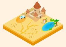 Clipart (images graphiques) d'oasis de désert, style isométrique illustration de vecteur
