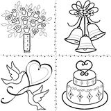 Clipart (images graphiques) de mariage réglé/ENV Photos libres de droits
