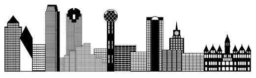 Clipart (images graphiques) de panorama d'horizon de ville de Dallas illustration libre de droits
