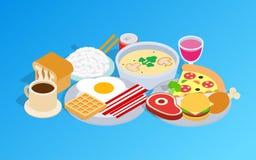 Clipart (images graphiques) de petit déjeuner, style isométrique illustration stock