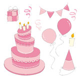 Ensemble de fille d'anniversaire Photo stock