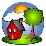 Clipart (images graphiques) rouge de Chambre de scène rurale illustration de vecteur
