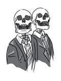 Clipart isolado escritório dos cavalheiros do crânio ilustração stock