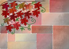 Clipart with leaves on a wall Royalty Free Stock Photo