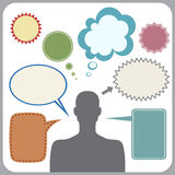 Clipart of man with speech bubbles. Vector Stock Image