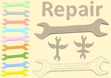 Clipart med skiftnycklar stock illustrationer