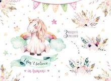 Clipart mignon d'isolement de licorne d'aquarelle Illustration de licornes de crèche Affiche de licornes d'arc-en-ciel de princes illustration libre de droits