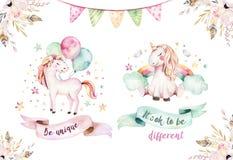 Clipart mignon d'isolement de licorne d'aquarelle Illustration de licornes de crèche Affiche de licornes d'arc-en-ciel de princes illustration stock