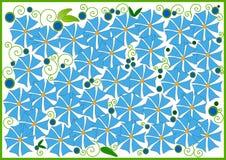Clipart mit blauen Blumen Stockfotografie