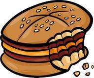 Clipart mordido dos desenhos animados do cheeseburger ilustração royalty free