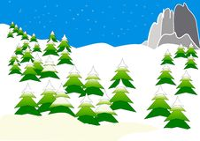 Clipart with mountains in winter Royalty Free Stock Photo