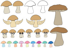 Clipart with mushrooms Royalty Free Stock Photography