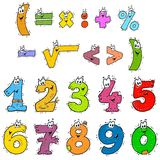 Clipart Numbers Color. Cartoon clipart numbers. Color illustrations for kids Stock Photography