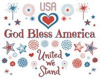 Clipart patriottico americano su bianco Fotografia Stock Libera da Diritti