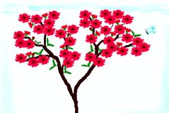 Clipart with peach blossoms. Clipart with a branch of peach flowers and a blue butterfly Royalty Free Stock Image